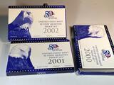 3 State Quarter Proof sets, 2000, 2001, and 2002