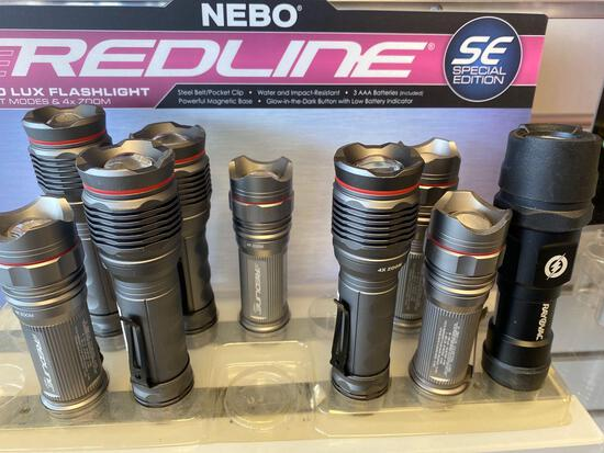 9 assorted Nebo/Rayovac LED Flashlights
