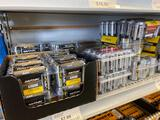 Shelf load of Rayovac batteries. 6v, AAA, AA, C, D,