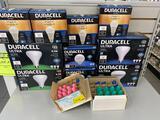 Lot of Duracell bulbs and vintage Christmas bulbs
