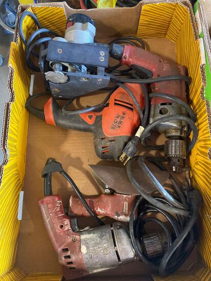 Assorted Power Tools. Air sander. 3 drills, laminate cutter