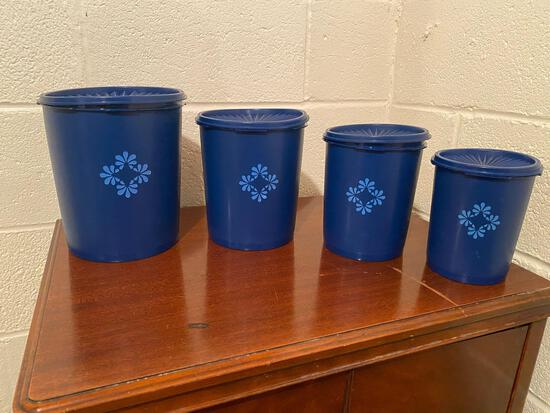 """RARE Set of 4 Navy Blue """"Blueberry"""" Vintage Tupperware Nesting Canisters"""