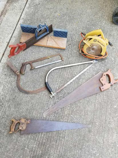 Lots of Saws Including Tree, Circular & Miter Box with Hand Saws