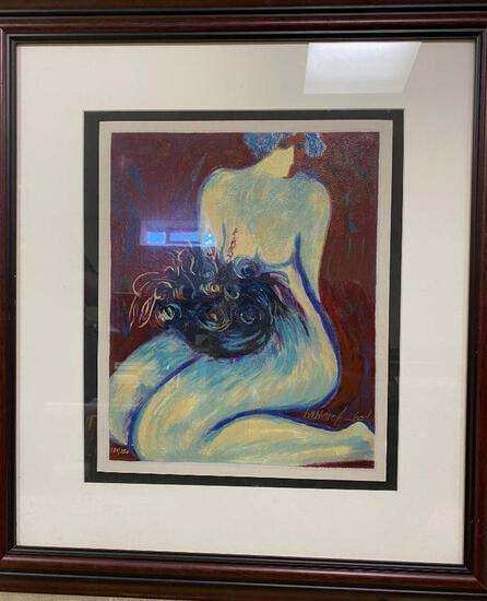 """Rare Barbara A. Wood Framed Numbered Print """"Woman With Flowers"""""""