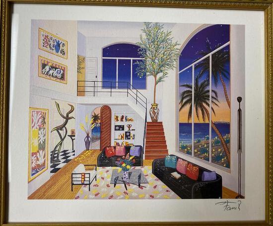 Fanch (Francious Ledan) - Interior with Three Matisse Seriolithograph