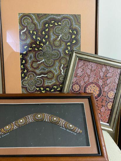 Three pieces of Aboriginal Art