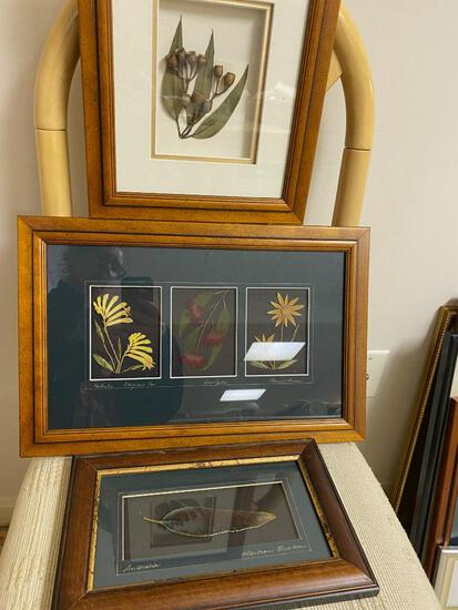 3 Shadow Boxes With Flowers and Leaves