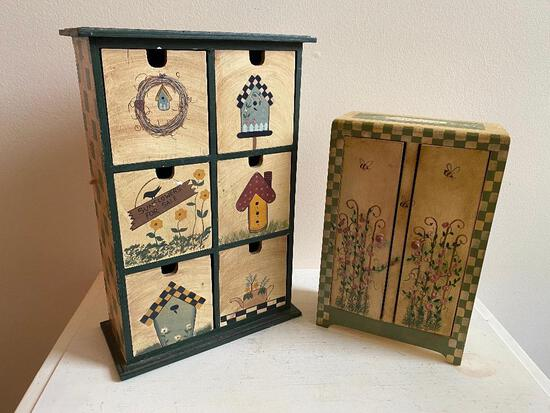Two Hand-painted Miniature Jewelry Chests