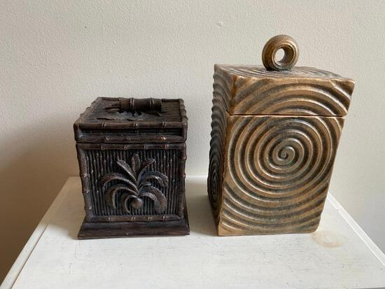 Two Removable-Top Lidded Boxes