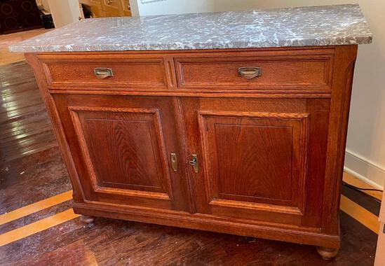 Solid Wood Sideboard With Marble Top
