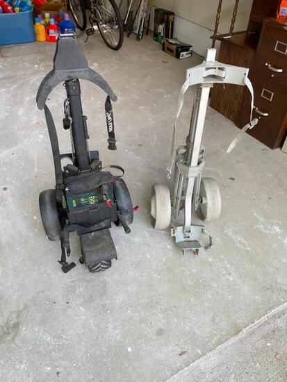 Two Golf Bag Carts (One Battery Powered)