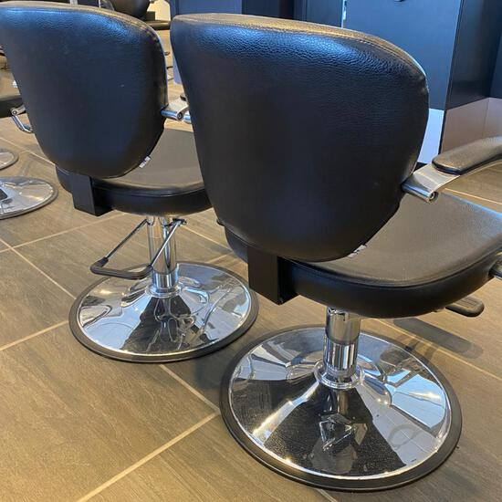 2 CLASSIC BLACK HYDRAULIC SALON STYLING CHAIR WITH CHROME BASE