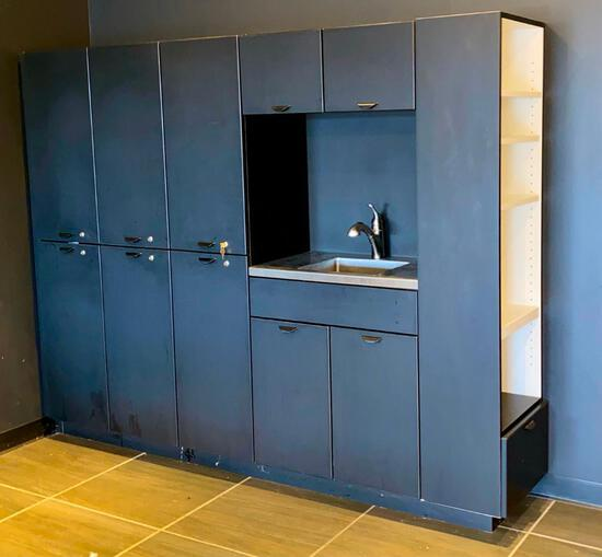 Large Salon Interiors Cabinet with Stainless Steel Sink & Moen Faucet