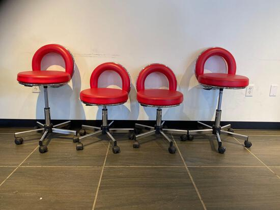 4 X RED & CHROME ROLLING CHAIRS
