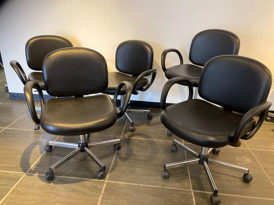 BLACK LEATHERETTE OFFICE / CLIENT CHAIRS WITH ARMS AND MOBILE CHROME BASES