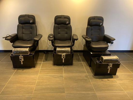 3 X PEDICURE STATIONS WITH MASSAGE CHAIRS