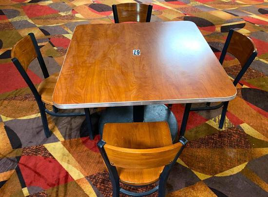 Cherry Wood Laminate Tables with Chrome Bumpers & 4 Matching Wood & Metal Chairs