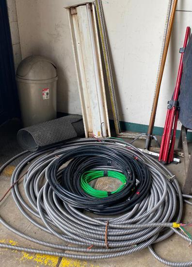 Flexible Conduit, Heavy Gauge Wire, and Fluorescent Light Fixture