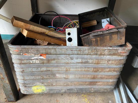 3ft x 3ft x 18in Steel Parts/Scrap Hopper w/ Solid Steel Dowels-See pics.