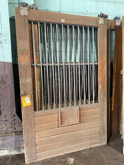 (2) 54in wide x 82.5 in tall (1) 65in wide x 82.5 tall Vintage Oak Rolling Barn Doors