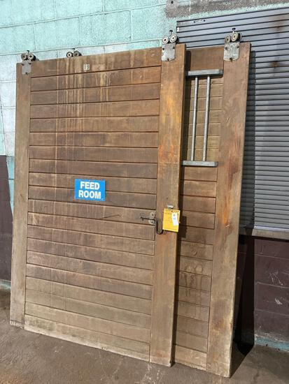 (2) 54in wide x 84in tall Vintage Oak Rolling Barn Doors