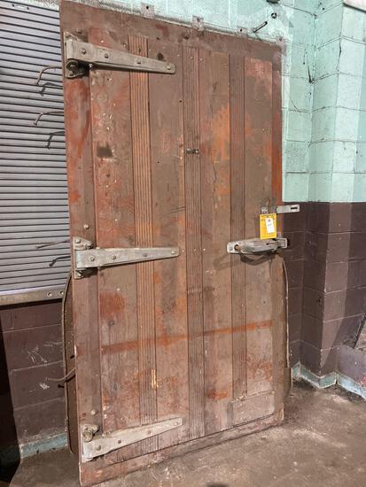 (1) 48in wide x 89in tall Vintage Buicher Boy Wooden Walk In Freezer Door