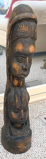 """Tribal """"Two Faces"""" Wood Carved Statue"""