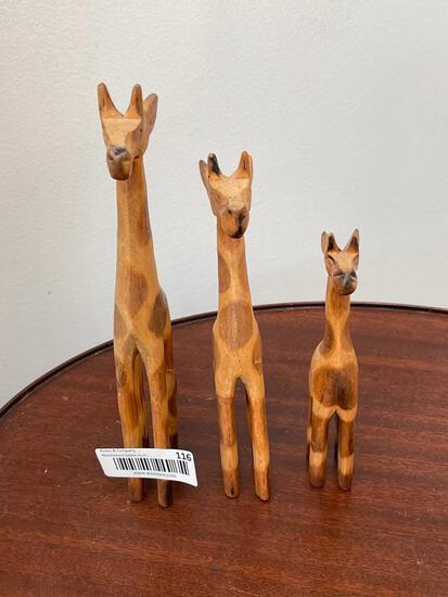 Three Wooden Giraffes