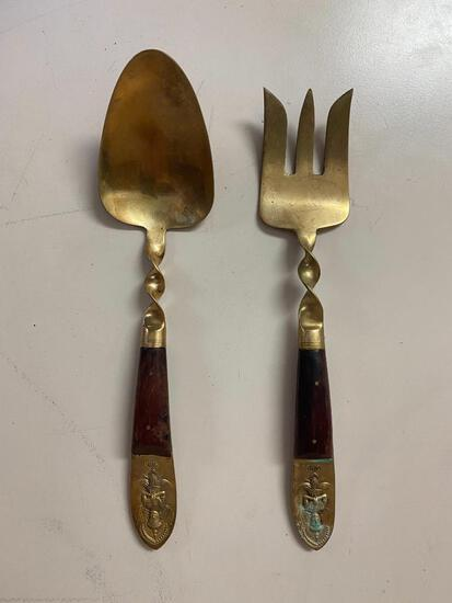 Wood Handled Brass Serving Spoon and Fork