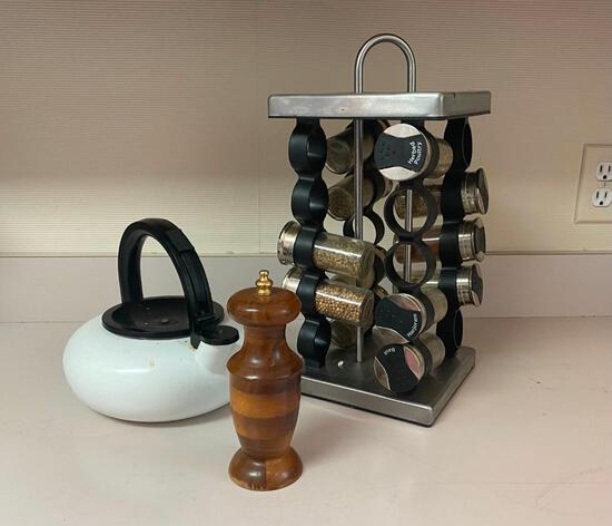 Spice Things Up with This Kitchen Lot. A Stovetop Tea Kettle, Spinning Spice Rack, and a Wooden