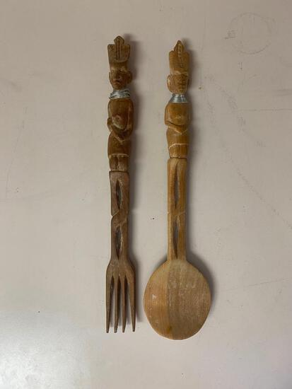 Wooden Tribal Themed Salad Utensils