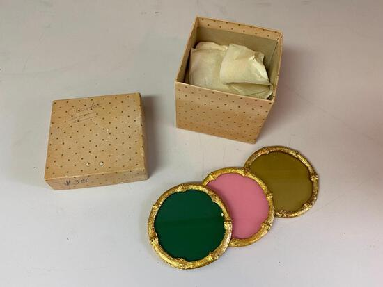 Six Coasters in Different Colors with Golden Bamboo Style Trim