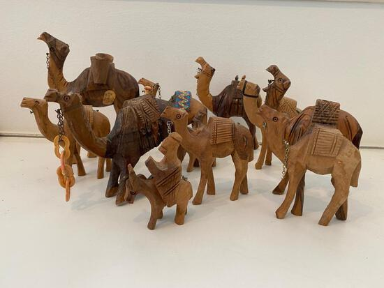 Carved Wooden Camel Collection