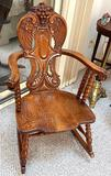 Carved Gothic Solid Wood Rocking Chair