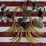 Sterling and Stone Necklaces and Bright Gold-tone Dagger Necklace