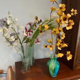 3 Faux Flower Arrangements and Vases