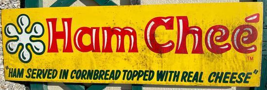 """Vintage Metal Sign: """"Webers Frankfurters""""/""""Ham Chee"""""""