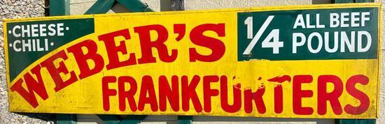 """Vintage Metal Sign: """"Ham Chee""""/""""Webers Frankfurters"""""""