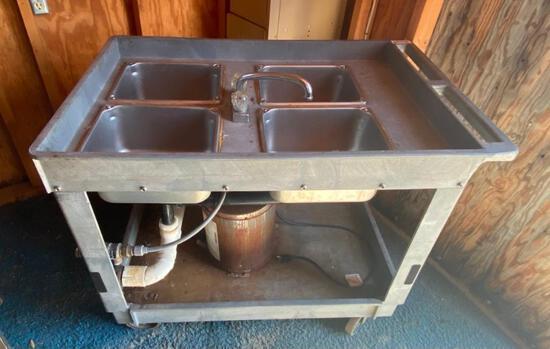 Four Basin Portable Prep Sink WITH HEATER