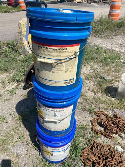 (3) assorted 5 gal buckets of Chevron Lubricants