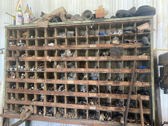 Large 47in x 6ft Vintage Hardware Sorter w/ Contents