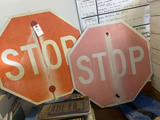 (2) Older Metal Stop Signs