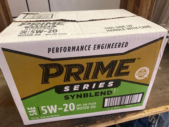 New case of (12) 1 quart bottles of Prime Series Synblend 5w-20 motor oil