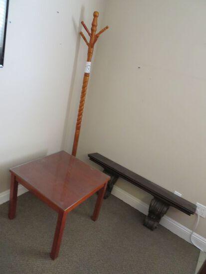 End Table, Coat Rack, Shelf