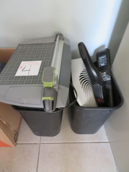 2 Trash Cans w/Office Misc