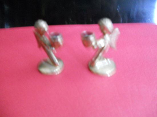2 Vintage Mini candle incense figurines