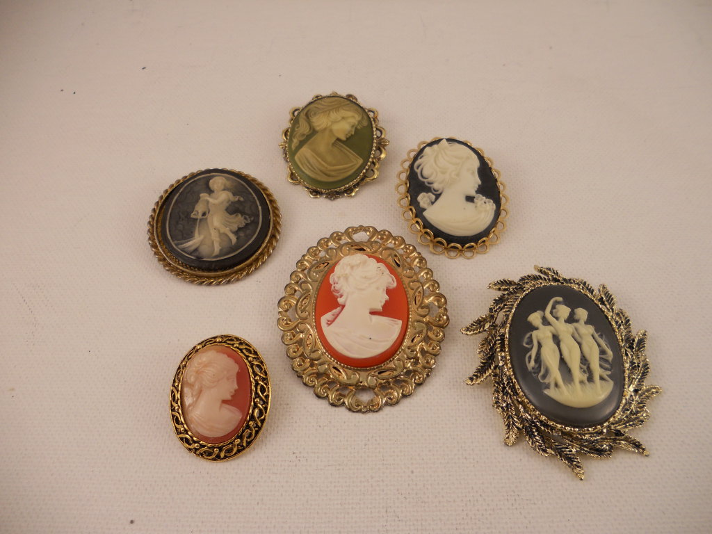 Lot of 6, Vintage Cameo Brooches