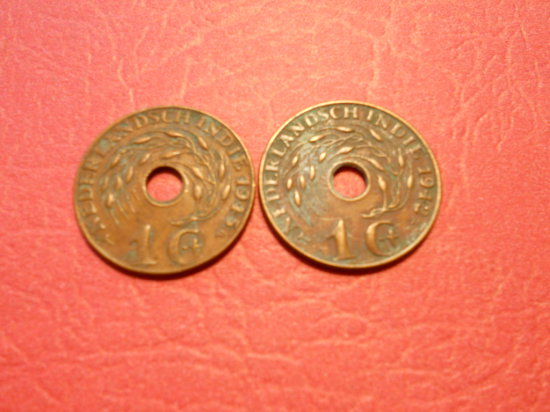 Lot of 2 Dutch East Indies 1 Cent