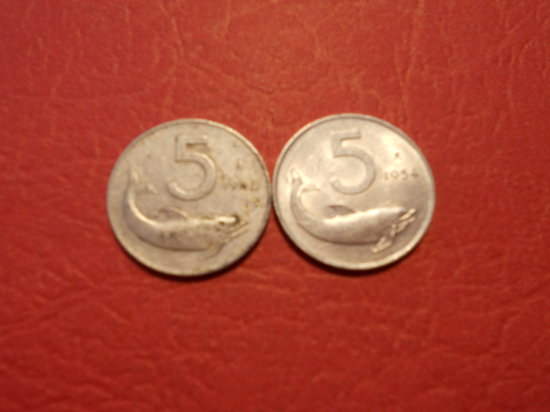 Lot of 2, Italiana, 5 Lire, 1953 and 1954