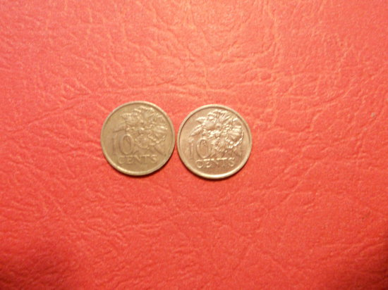 Lot of 2, Trinidad and Tobago, 10 Cents, 1977 and 1990
